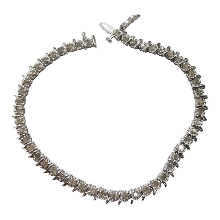 """14 Karat White Gold Diamond """"Tennis"""" Bracelet Weighing 1.50 Carat"""