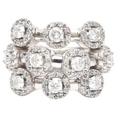 14 Karat White Gold Diamond Trembler Ring 3-Row