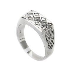 14 Karat White Gold Diamond Tribal Men's Ring CRR10064W