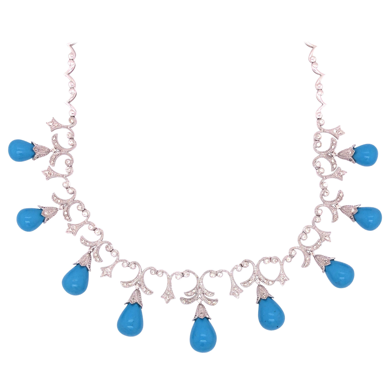 14 Karat White Gold Diamond Turquoise Necklace