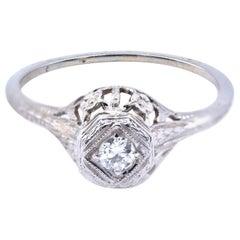 14 Karat White Gold Diamond Vintage Ring