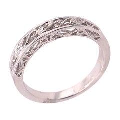 14 Karat White Gold Diamond Wedding Band Anniversary Filigree Ring