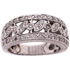14 Karat White Gold Diamond Wedding Band Bridal Ring