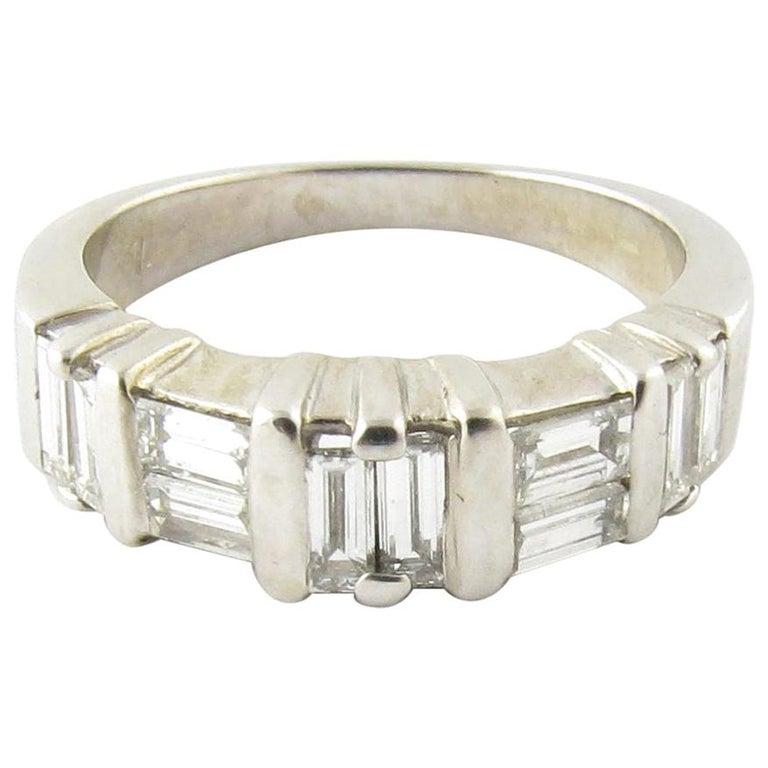 14 Karat White Gold Diamond Wedding Band For Sale