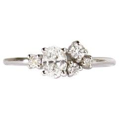 14 Karat White Gold Diamond 'with GIA Report' Cluster Ring