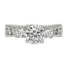 14 Karat White Gold Diamonds 3-Stone Engagement Ring