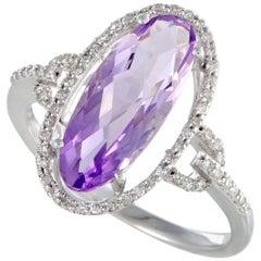 14 Karat White Gold Diamonds and Oval Amethyst Ring