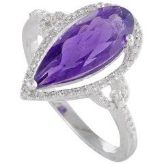 14 Karat White Gold Diamonds and Pear Shaped Amethyst Ring