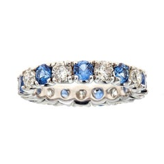 Round Blue Sapphire and Diamond Eternity Band Ring 14 Karat White Gold Size 6.5
