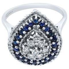 14 Karat White Gold Diamonds and Sapphires Pear Shaped Ring