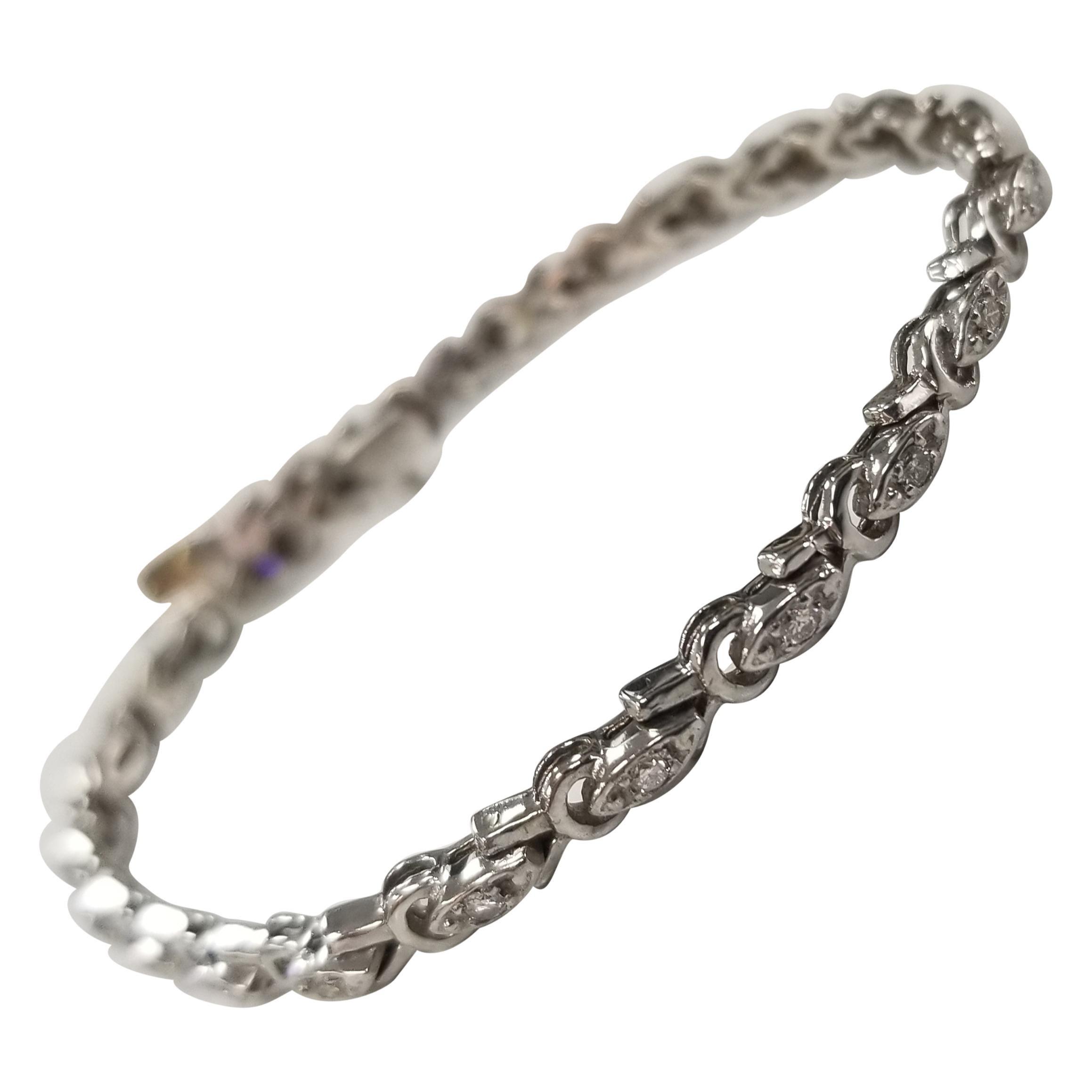 "14 Karat White Gold Diamonds ""Antique"" Link Bracelet"