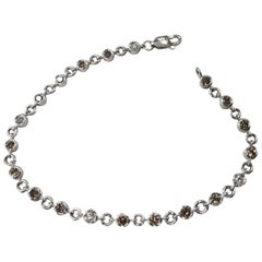14 Karat White Gold Diamonds Bezel Tennis Bracelet