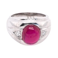 14 Karat White Gold Dome Ring with Garnet Cabochon and Diamond Accents