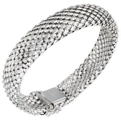 14 Karat White Gold Domed Weave Bracelet