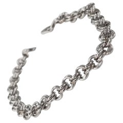 14 Karat White Gold Double Charm Link Bracelet Weighing 7.4 Gram