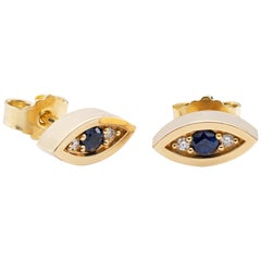 "14-Karat White Gold Earrings ""Eyes"" with Diamonds and Blue Sapphires"