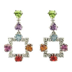 14 Karat White Gold Earrings with Diamonds and Multicolored Gemstones