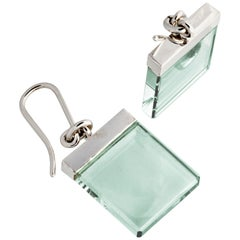 14 Karat White Gold Earrings with Light Green Quartzes, Featured in Vogue