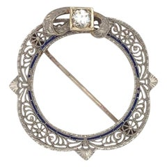 14 Karat White Gold Edwardian Diamond Brooch