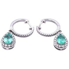 14 Karat White Gold Emerald and Diamond Drop Earrings