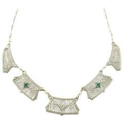 14 Karat White Gold Emerald and Diamond Necklace