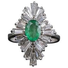 14 Karat White Gold Emerald and Diamond Statement Ring