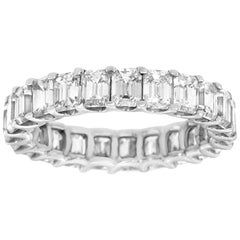 14 Karat White Gold Emerald Eternity Diamond Ring '4 1/2 Carat'