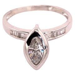 14 Karat White Gold Engagement Ring 1.10 Total Diamond Weight