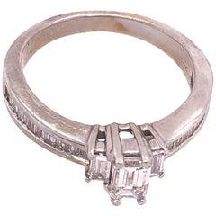 14 Karat White Gold Engagement Ring Bridal Ring 0.75 Total Diamond Weight