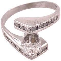 14 Karat White Gold Engagement Ring / Bridal Ring 1 Carat Total Diamond Weight