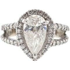 14 Karat White Gold Engagement Ring Two-Row Setting Pear Shape 2 Carat Diamond