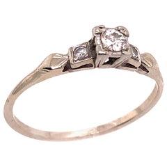 14 Karat White Gold Engagement Three-Stone Ring 0.34 TDW