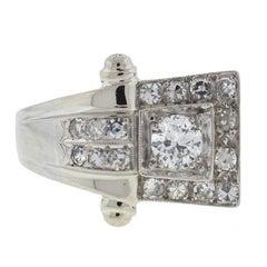14 Karat White Gold European Cut Diamond Ring