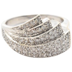 14 Karat White Gold Fanning 0.75 Carat Diamond Band Ring