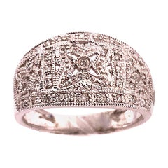 14 Karat White Gold Fashion Ring with Round Diamonds