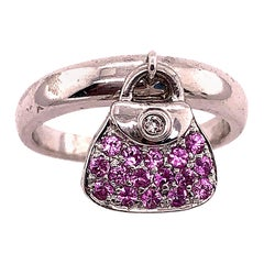 14 Karat White Gold Fashion Ring with Semi Precious Stones Charm