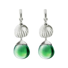 14 Karat White Gold Fig Cocktail Earrings with Green Quartz by the Artist