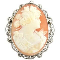 14 Karat White Gold Filigree Cameo Brooch / Pendant