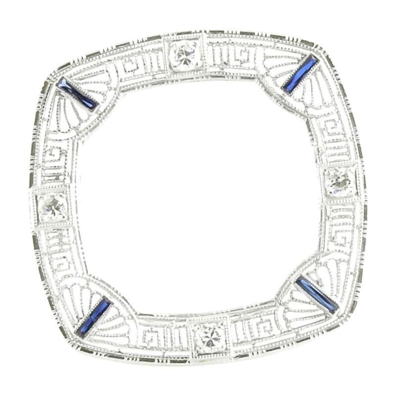 14 Karat White Gold Filigree, Diamond and Sapphire Brooch / Pin