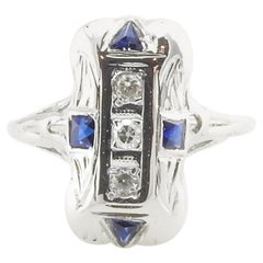 14 Karat White Gold Filigree Diamond and Sapphire Ring
