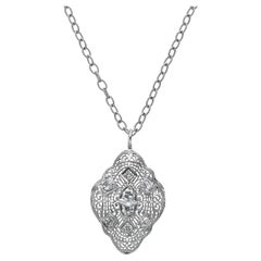 14 Karat White Gold Filigree European Cut Diamond Pendant