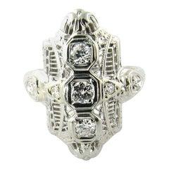 14 Karat White Gold Filigree Ring