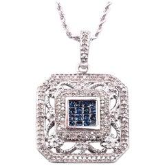 14 Karat White Gold Filigree White and Blue Diamond Pendant