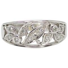 14 Karat White Gold Floral Design Diamond Ring