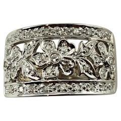 14 Karat White Gold Floral Diamond Band Ring