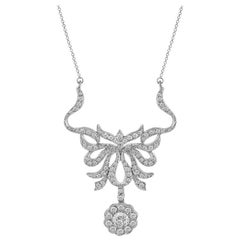 14 Karat White Gold Floral Filigree Diamond Pendant Necklace