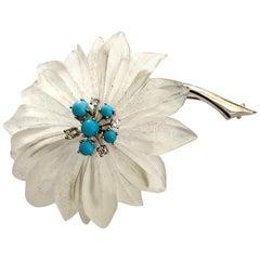 14 Karat White Gold Flower Brooch, Rock Christal, Diamond, Turkois Vienna, 1960