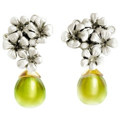 14 Karat White Gold Flowers Clip-On Earrings by The Artist with Diamonds