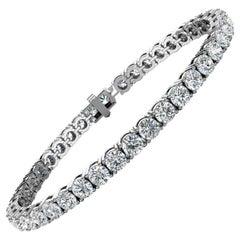 14 Karat White Gold Four Prongs Diamond Tennis Bracelet '10 Carat'