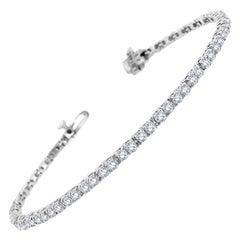 14 Karat White Gold Four Prongs Diamond Tennis Bracelet '3 1/2 Carat'